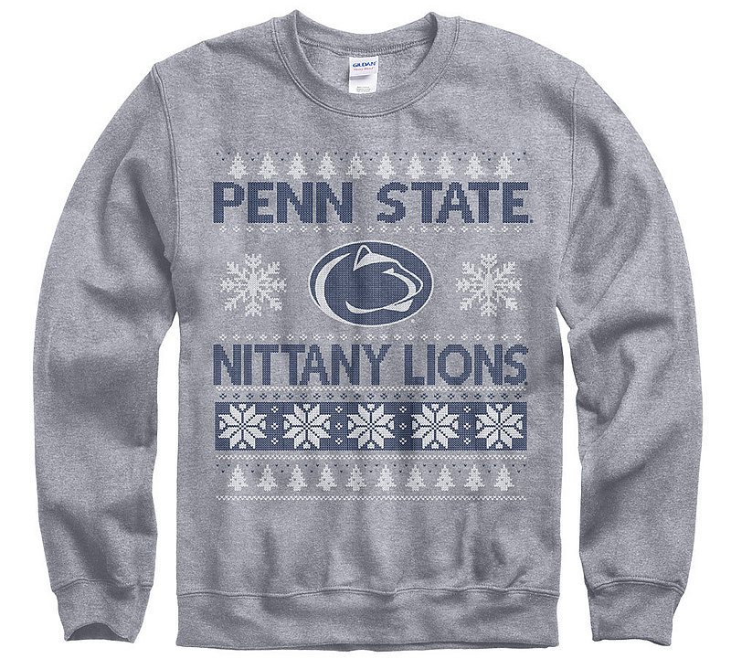 Penn State Holiday Crewneck Sweatshirt Grey Nittany Lions (PSU)