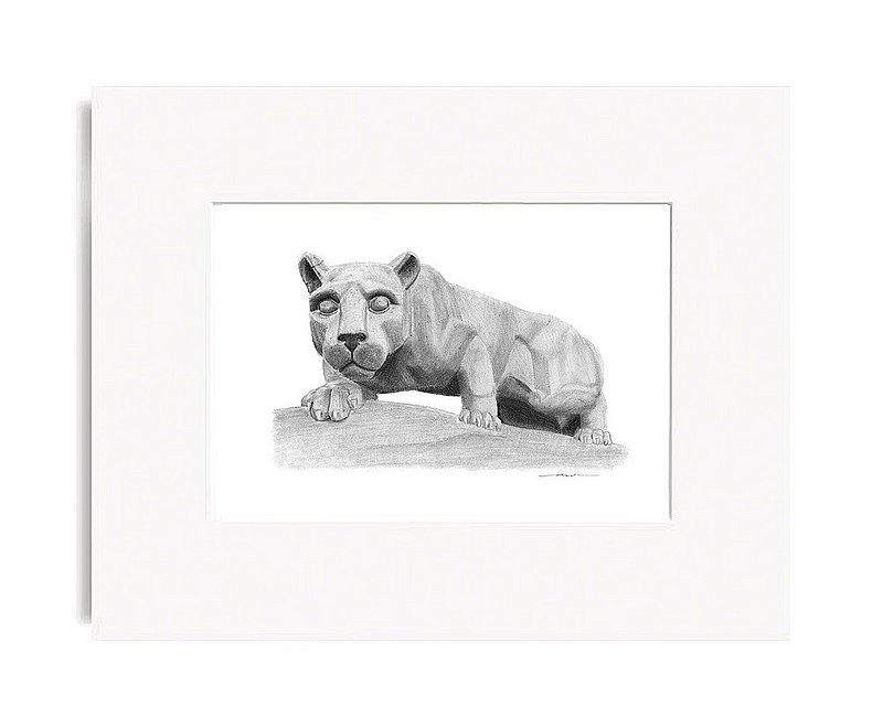 "Penn State Lion Shrine Fine Art Print 5""x7"" Matted Nittany Lions (PSU)"