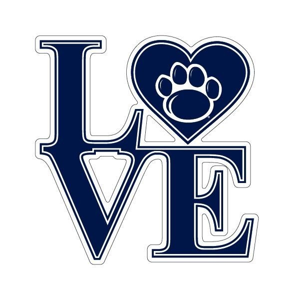 """Penn State Love Paw Magnet 6"""" Nittany Lions (PSU)"""