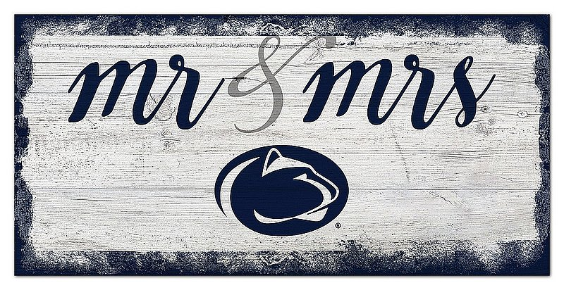 Penn State Mr & Mrs Wood Sign Navy Nittany Lions (PSU)