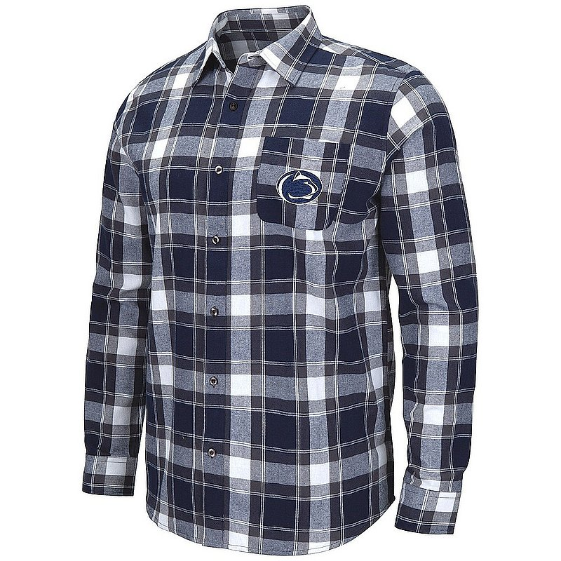 Penn State Nittany Lions Navy Mens Flannel Plaid Button Down Shirt