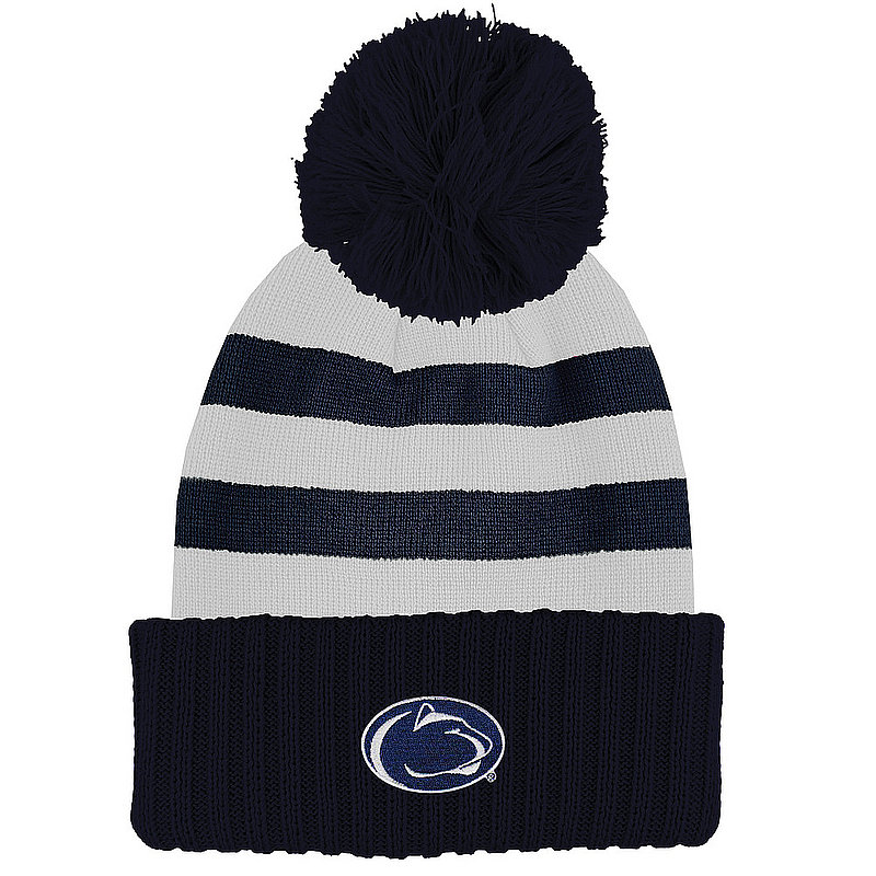 Penn State Nittany Lions Striped Knit Pom Beanie Nittany Lions (PSU)
