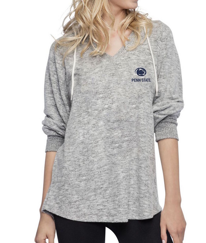 Penn State Nittany Lions Women's Oversized Heather Gray V-Neck Hood Nittany Lions (PSU)