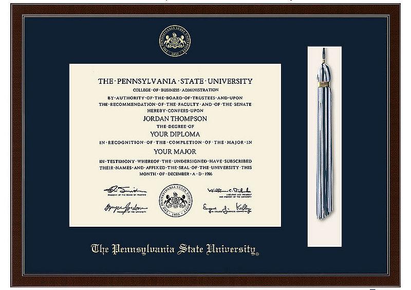 Pennsylvania State University Diploma Frame Tassel Edition