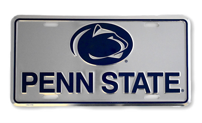 Penn State Silver Metal License Plate