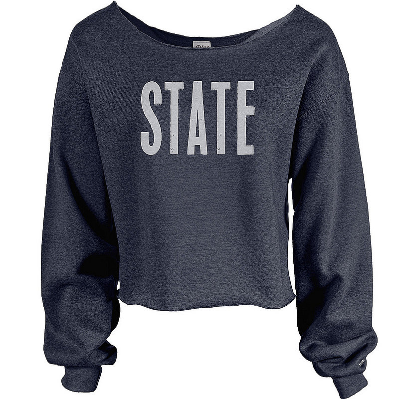 Penn State State Raw Edge Wide Crop Crewneck Navy Nittany Lions (PSU)