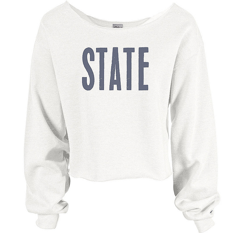 Penn State State Raw Edge Wide Crop Crewneck White Nittany Lions (PSU)