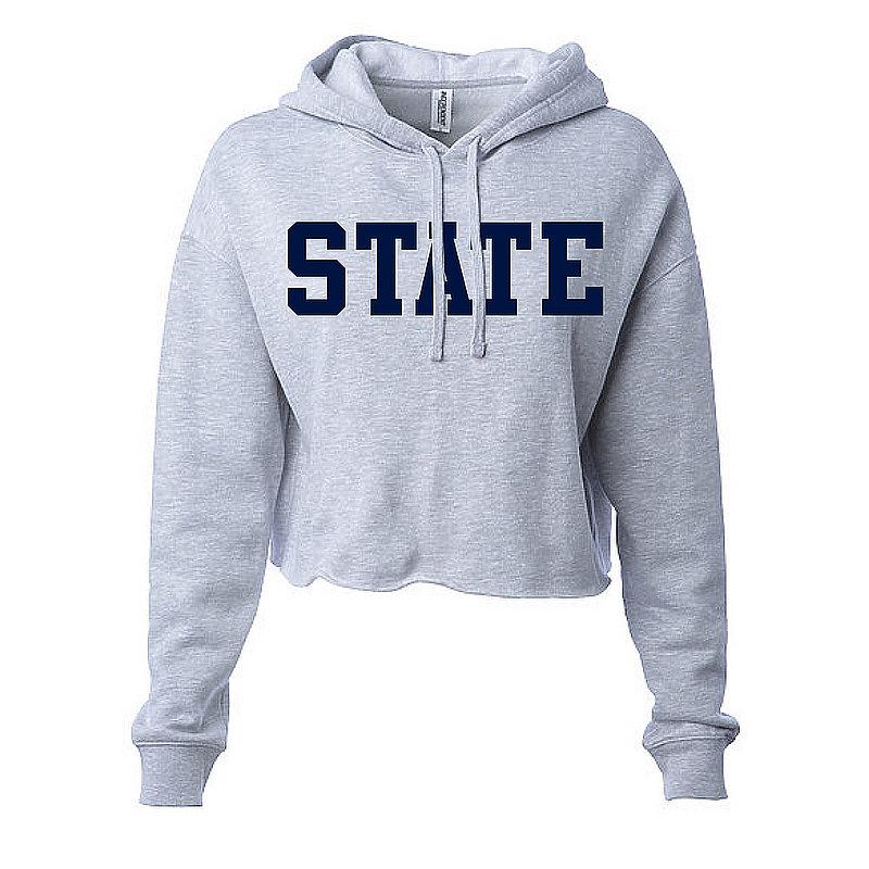 Penn State State Women's Heather Grey Hooded Crop Sweatshirt Nittany Lions (PSU)