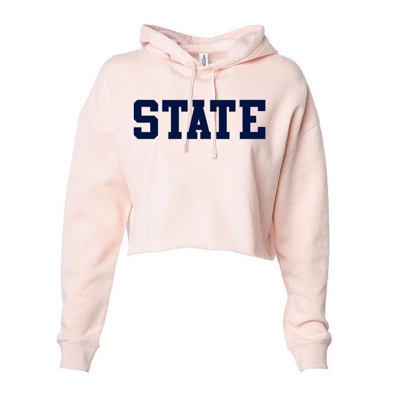 State Women's Light Pink Hooded Crop Sweatshirt