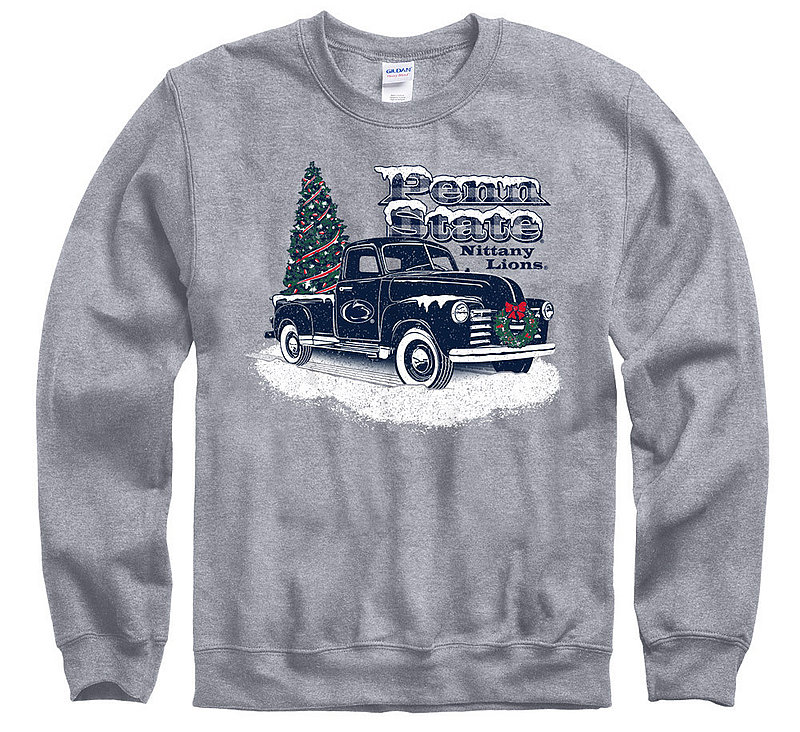 Penn State Truck with Tree Holiday Crewneck Sweatshirt Nittany Lions (PSU)