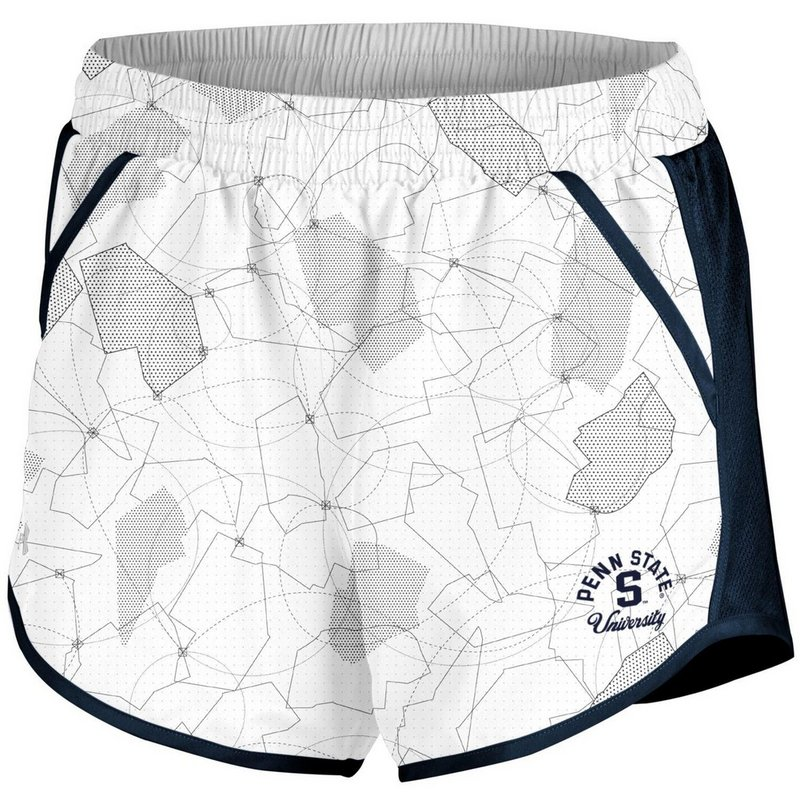 Penn State Under Armour Women's White and Navy Running Shorts Nittany Lions (PSU) (Under Armour )