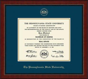 penn state university embossed academy diploma frame
