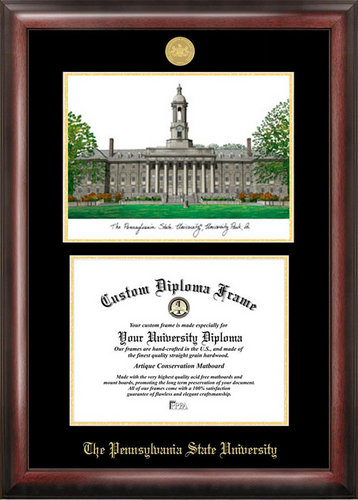 Penn State University Gold Embossed Diploma Frame With Lithograph ...