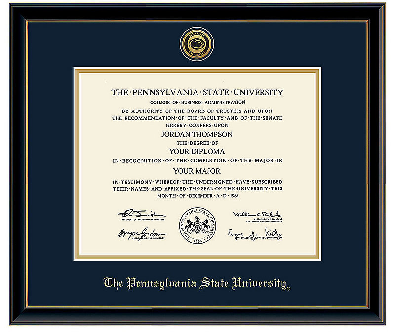 Penn State University Gold Engraved Medallion Diploma Frame in Onexa Gold with Navy/Gold mats