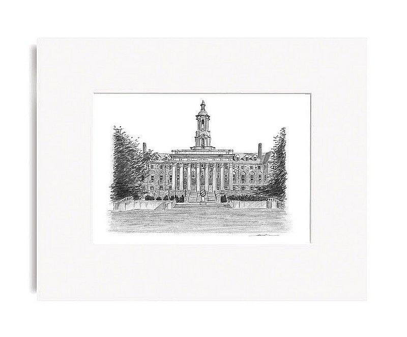 "Penn State University Old Main Fine Art Print 5""x7"" Matted Nittany Lions (PSU)"