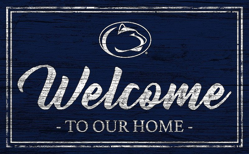 Penn State Welcome to Our Home Wood Sign 11 x 19 Navy