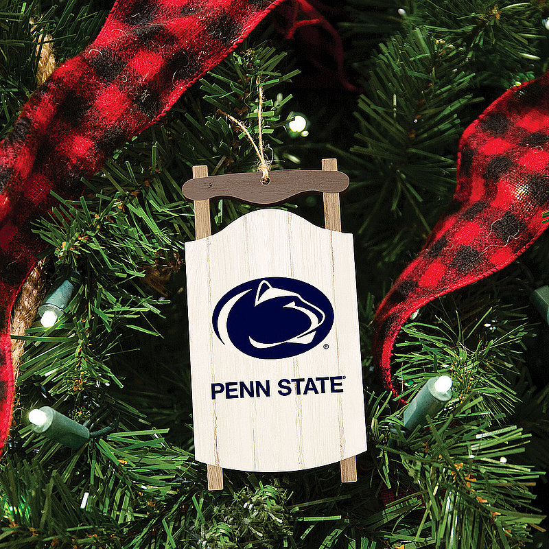 Penn State White Snow Sled Holiday Ornament Nittany Lions (PSU)