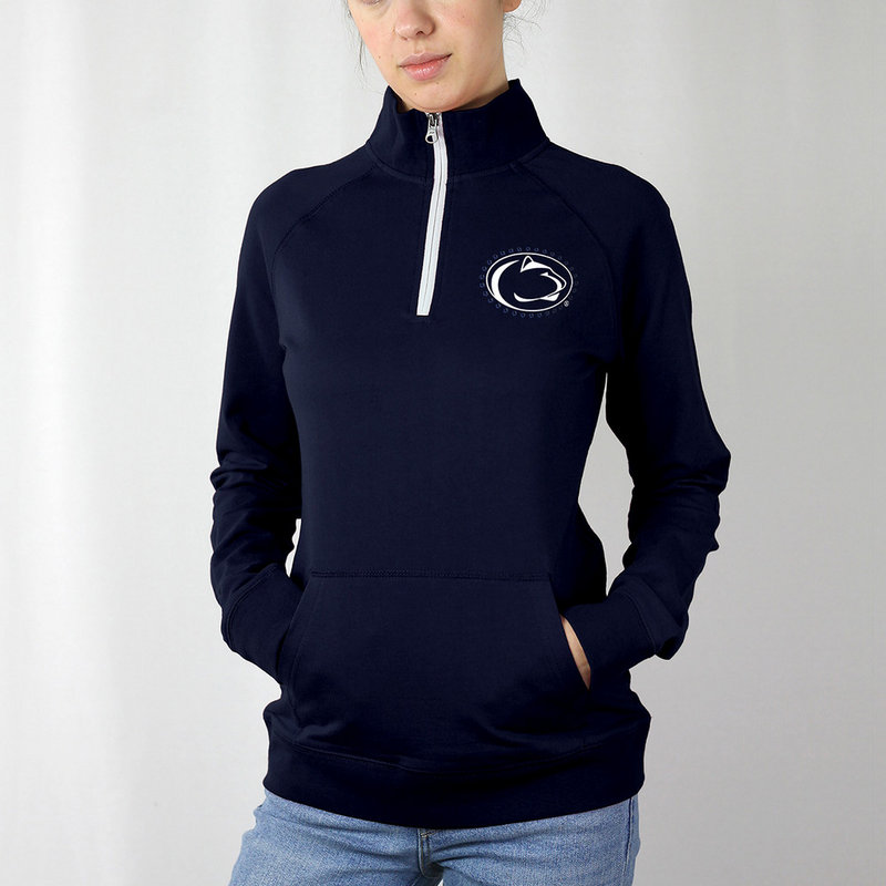 Penn State Women's Jeweled Navy Lion Head Quarter Zip Nittany Lions (PSU)