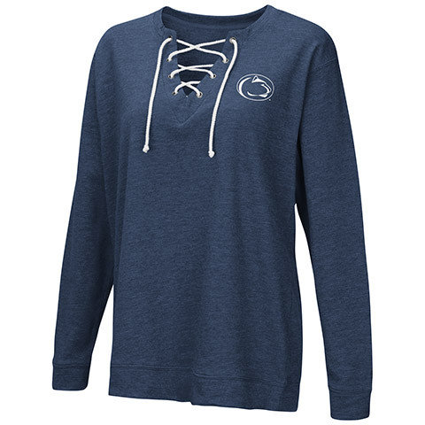Penn State Women's Oversized Sideslip Lace Up Pullover Heather Navy Nittany Lions (PSU)