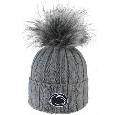 Penn State Womens Fur Pom Hat Heather Grey