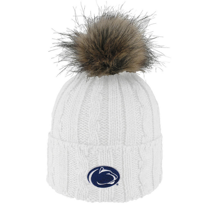 Penn State Womens Fur Pom Hat White Nittany Lions (PSU)