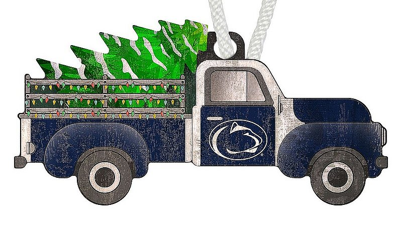 Penn State Wooden Truck With Tree Holiday Ornament