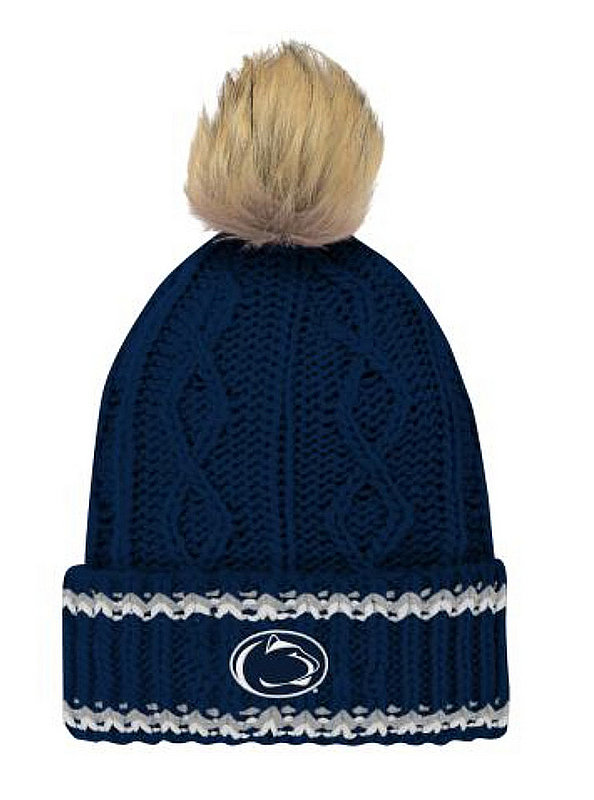 Penn State Youth Girls Fur Pom Knit Hat Nittany Lions (PSU)