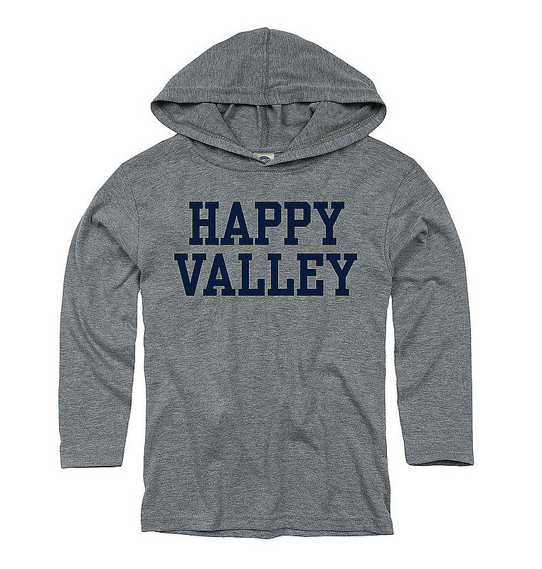 """Penn State Youth Heather Grey """"Happy Valley"""" Long Sleeve with Hood Nittany Lions (PSU)"""
