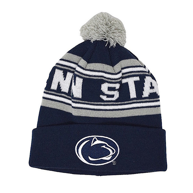 Penn State Youth Navy & Grey Stripe Pom Beanie Nittany Lions (PSU)
