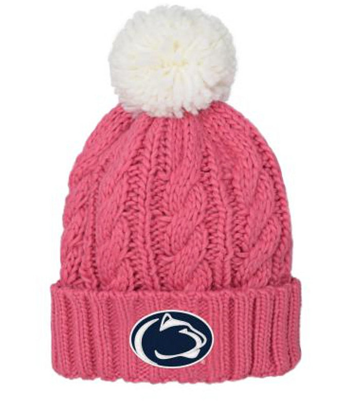 Penn State Youth Pink Cable Knit Beanie