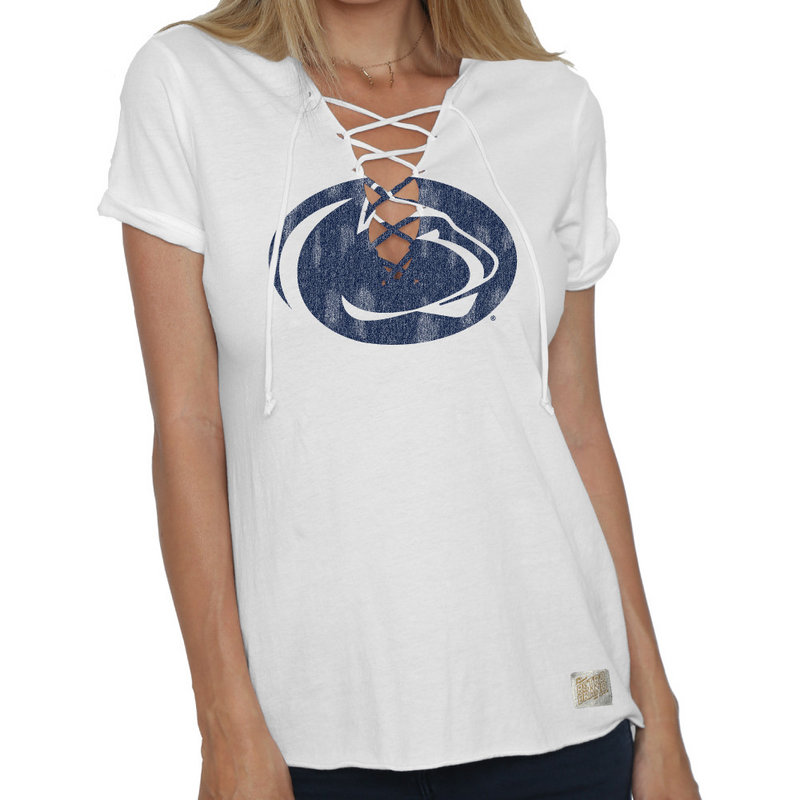 Retro Brand Penn State Women's Lace Up Tee White Nittany Lions (PSU) (Retro Brand)