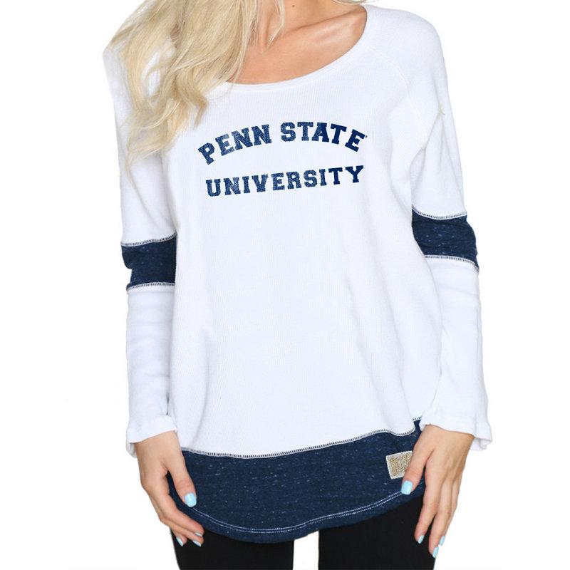 Retro Brand Penn State Women's White Boyfriend Thermal Nittany Lions (PSU) (Retro Brand)