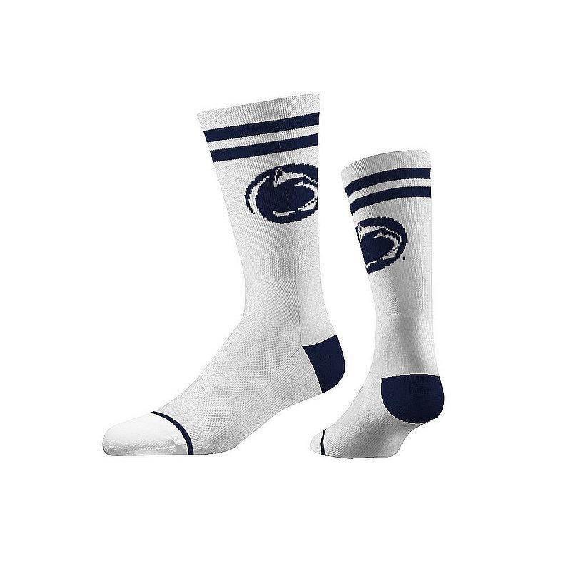 Strideline Penn State White and Navy Stripe Crew Socks with Lion Head Nittany Lions (PSU) (Strideline)