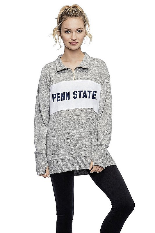 Women's Heather Grey Quarter Zip with Navy Block Penn State Nittany Lions (PSU)