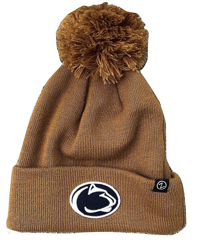 Penn State Brown Pom Beanie