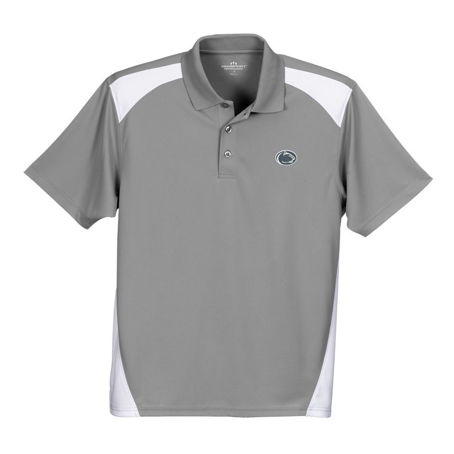 Penn State Performance Polo Shirt Gray With Inserts Lion Head