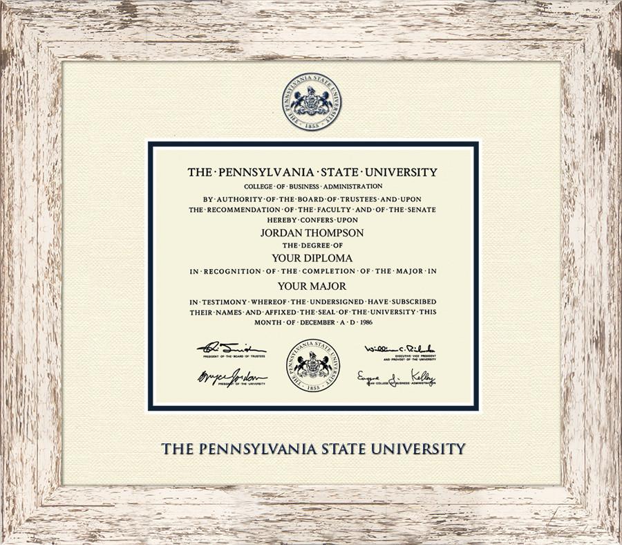 Penn State University Barnwood Diploma Frame Nittany Lions