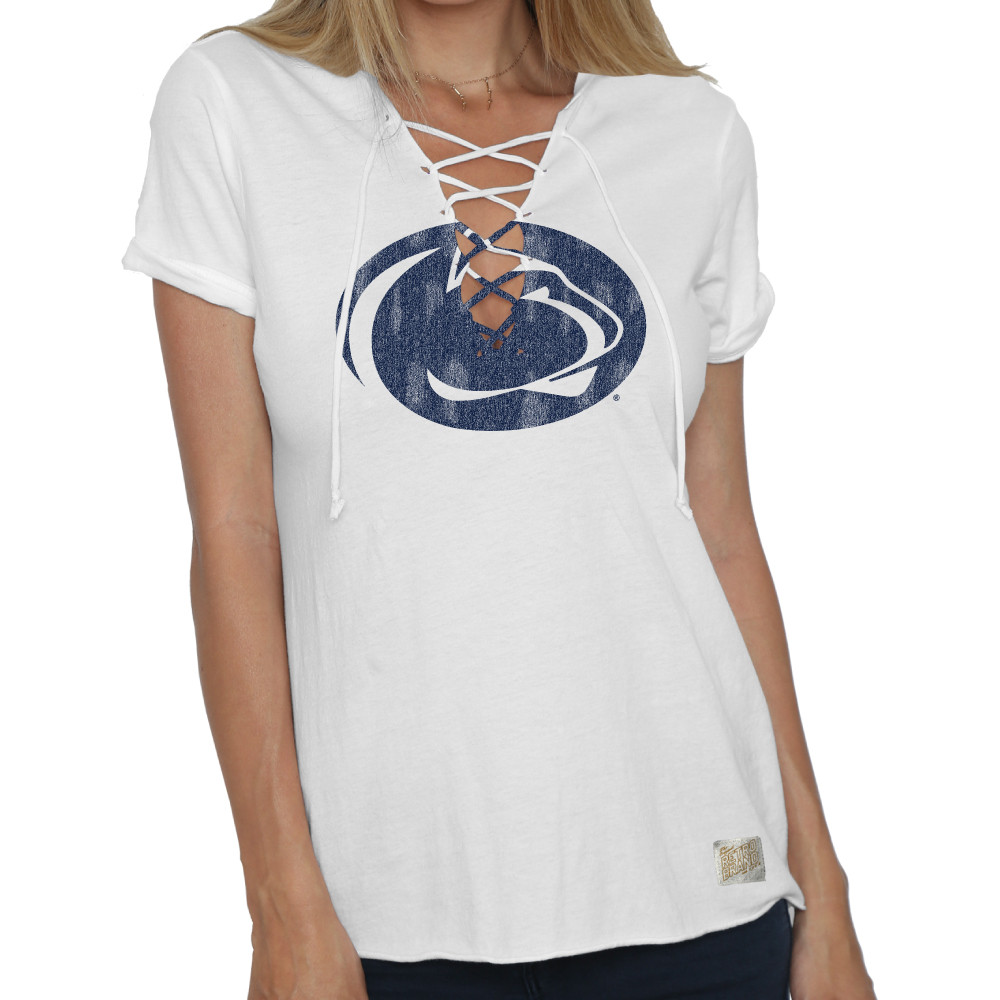Penn State Women's Lace Up Tee White Nittany Lions (PSU)