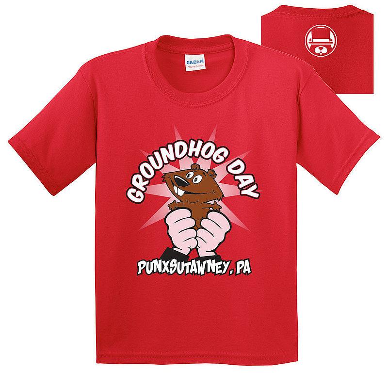 Gildan Groundhog Day Punxsutawney Youth T-Shirt-GHW2 2000B-Red (Gildan)