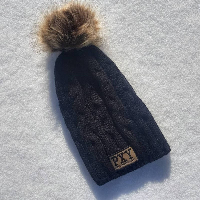 Punxsutawney Ladies Groundhog Beanie with Pom-Black