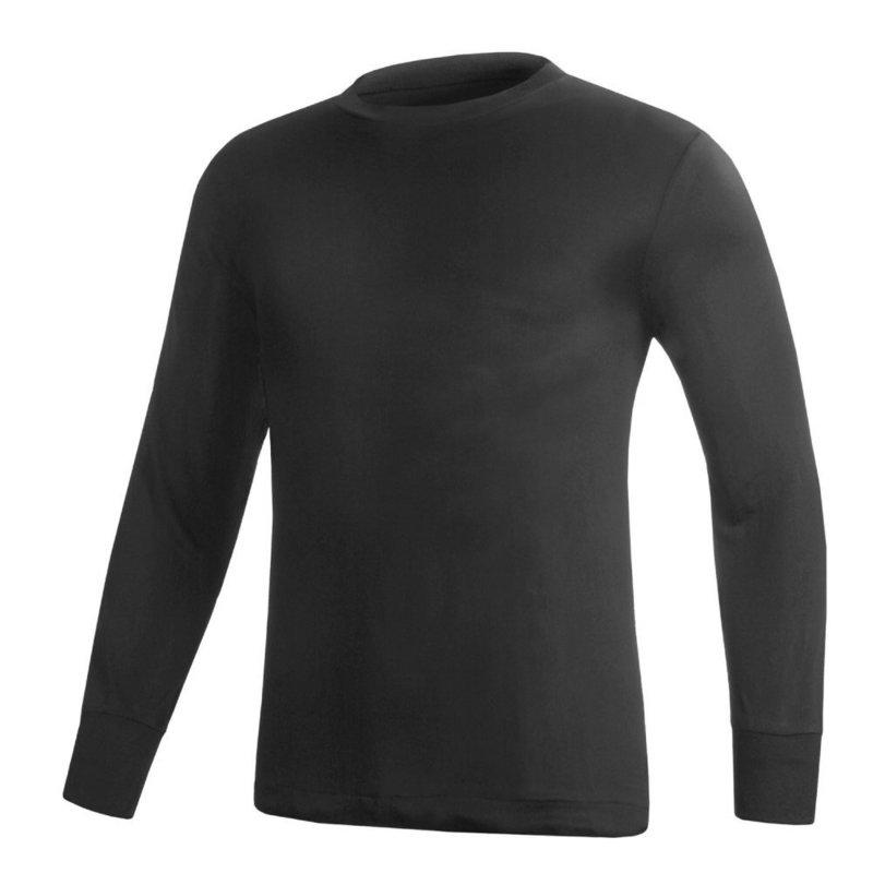 Terramar Sports Men's Silk Underwear L/S Top BLACK XL