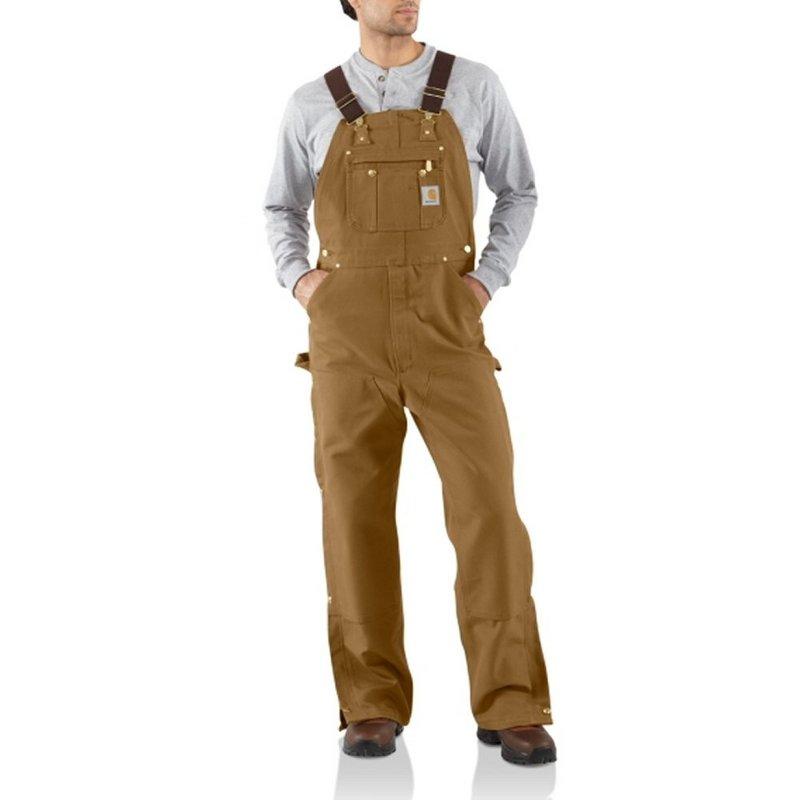 Carhartt Men's Duck Zip-To-Thigh Bib Overall Pants (Unlin...