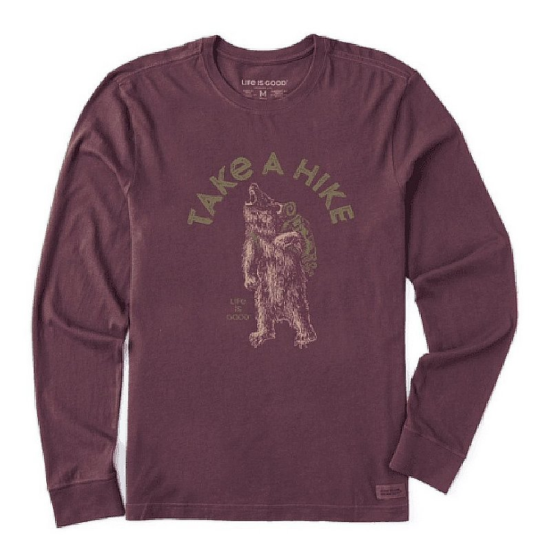 Life is good Men's Into the Wild Bear Long Sleeve Crusher Tee Shirt 71671 (Life is good)