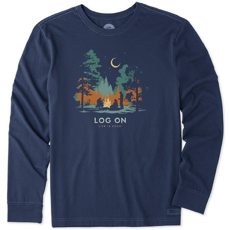 Life is good Men's Log On Campfire Long Sleeve Crusher Tee Shirt 75172 (Life is good)