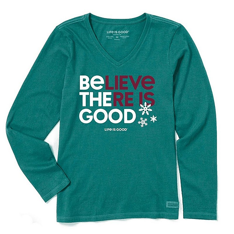 Life is good Women's Believe There is Good Snowflakes Long Sleeve Crusher Vee Shirt 73445 (Life is good)