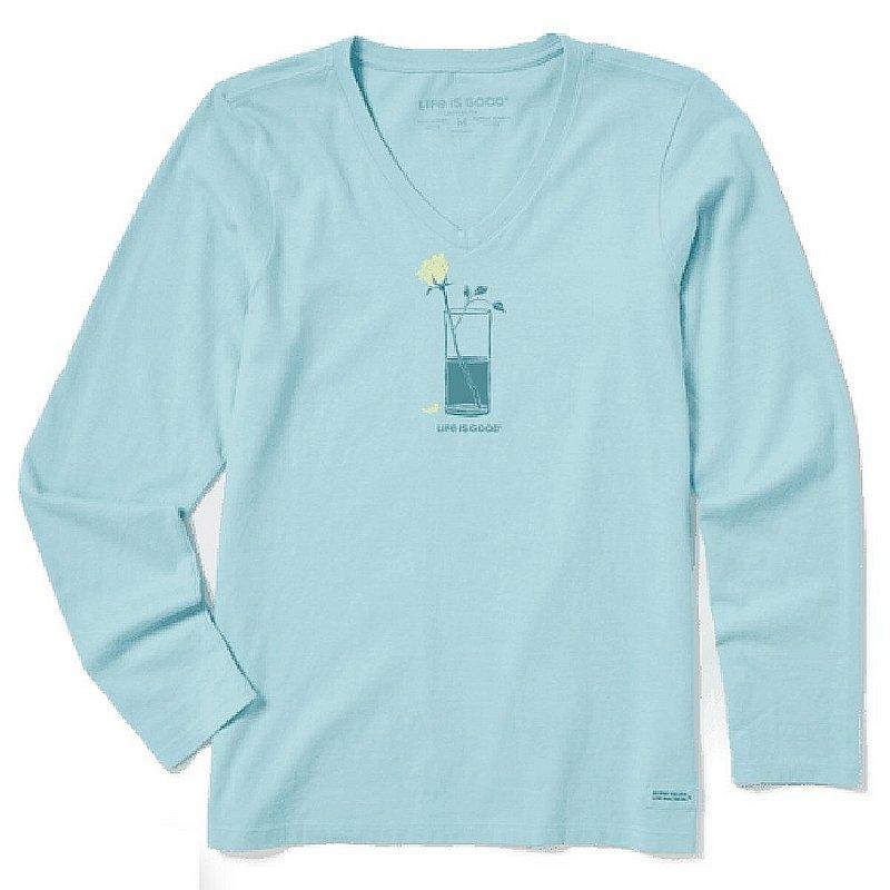 Women's Half Full Rose Long Sleeve Crusher Vee Shirt