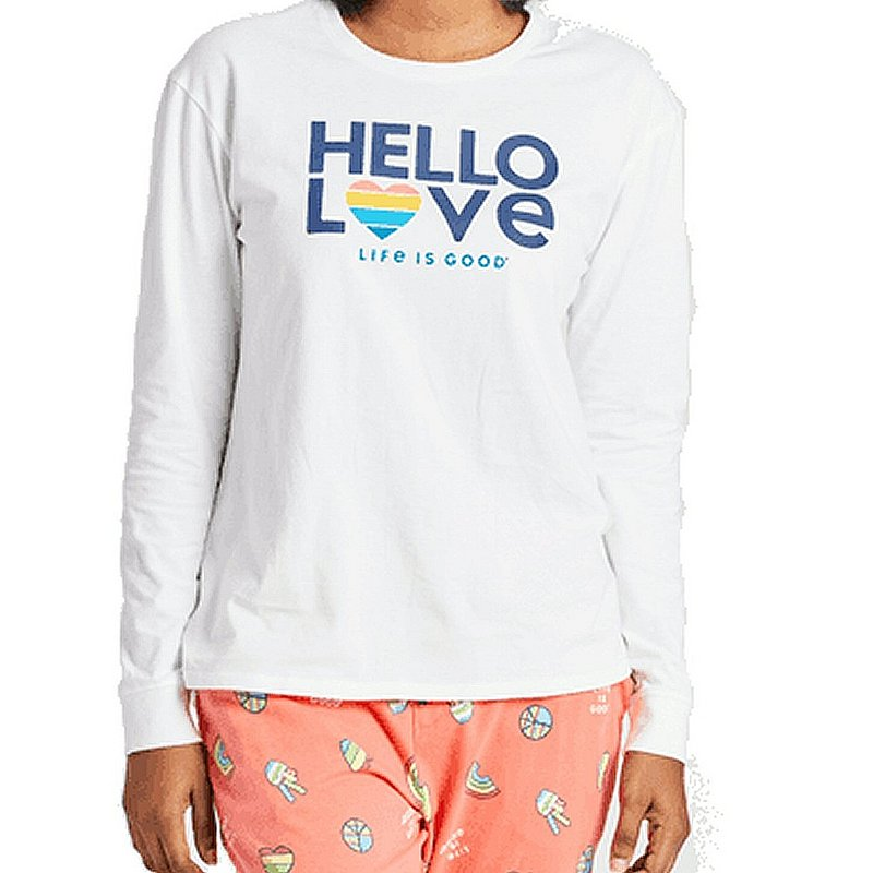 Life is good Women's Hello Love LIG Long Sleeve Snuggle Up Sleep Shirt 72237 (Life is good)