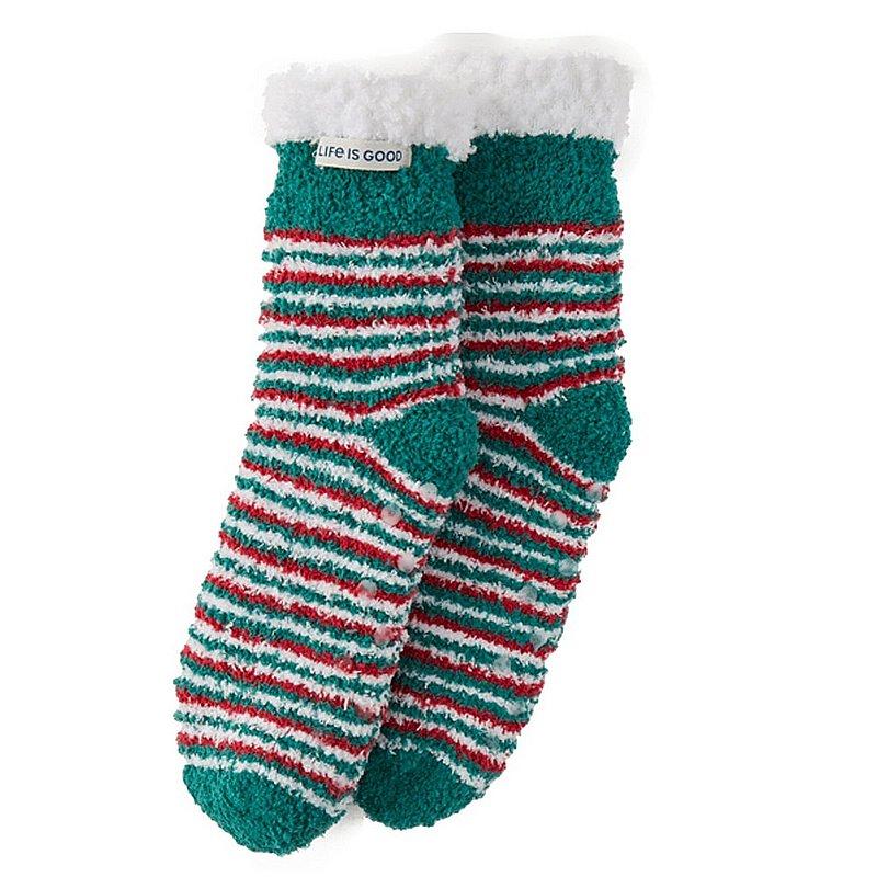 Life is good Women's Holiday Stripe Snuggle Slipper Socks 72050 (Life is good)