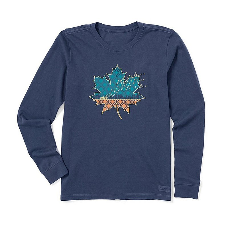 Women's Leaf Fall Scene Long Sleeve Crusher Tee Shirt