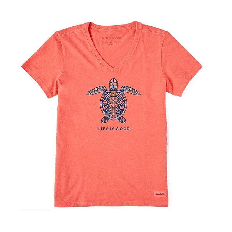 Life is good Women's Mandala Turtle Crusher Vee Shirt 76594 (Life is good)